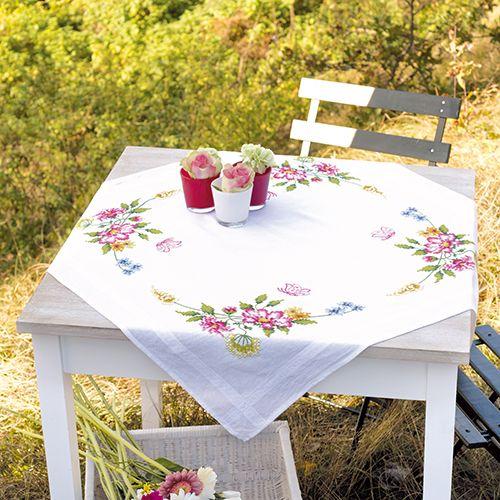 0021573-PN Скатерть Vervaco 'Весенние цветы' 80x80см