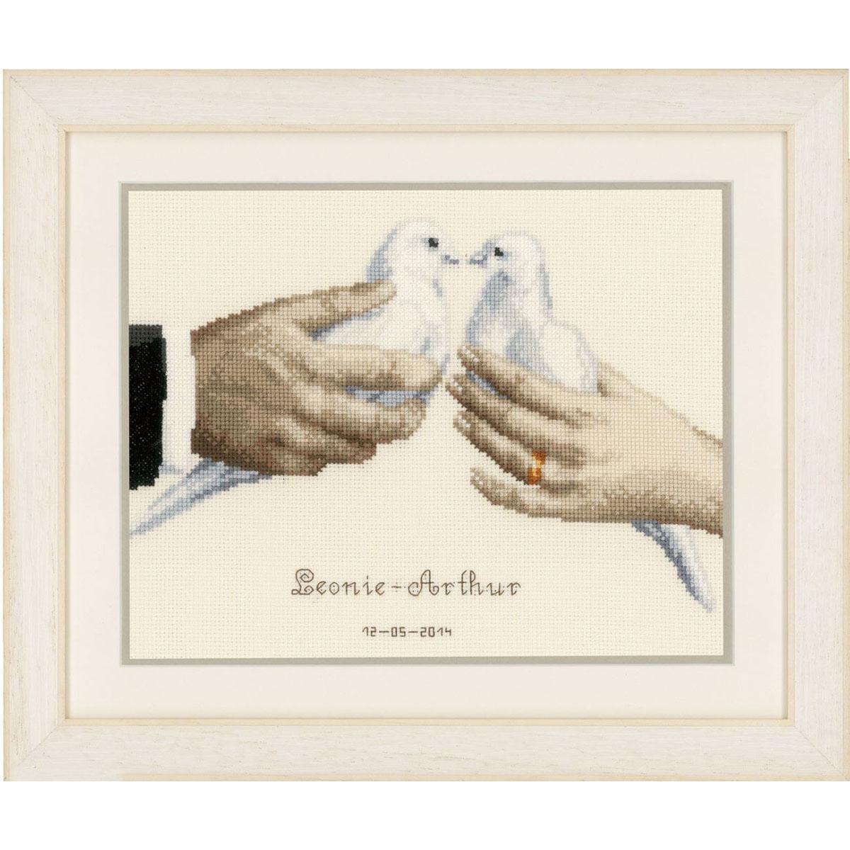 0148587-PN Набор для вышивания Vervaco 'Свадебные голуби' 27x21см