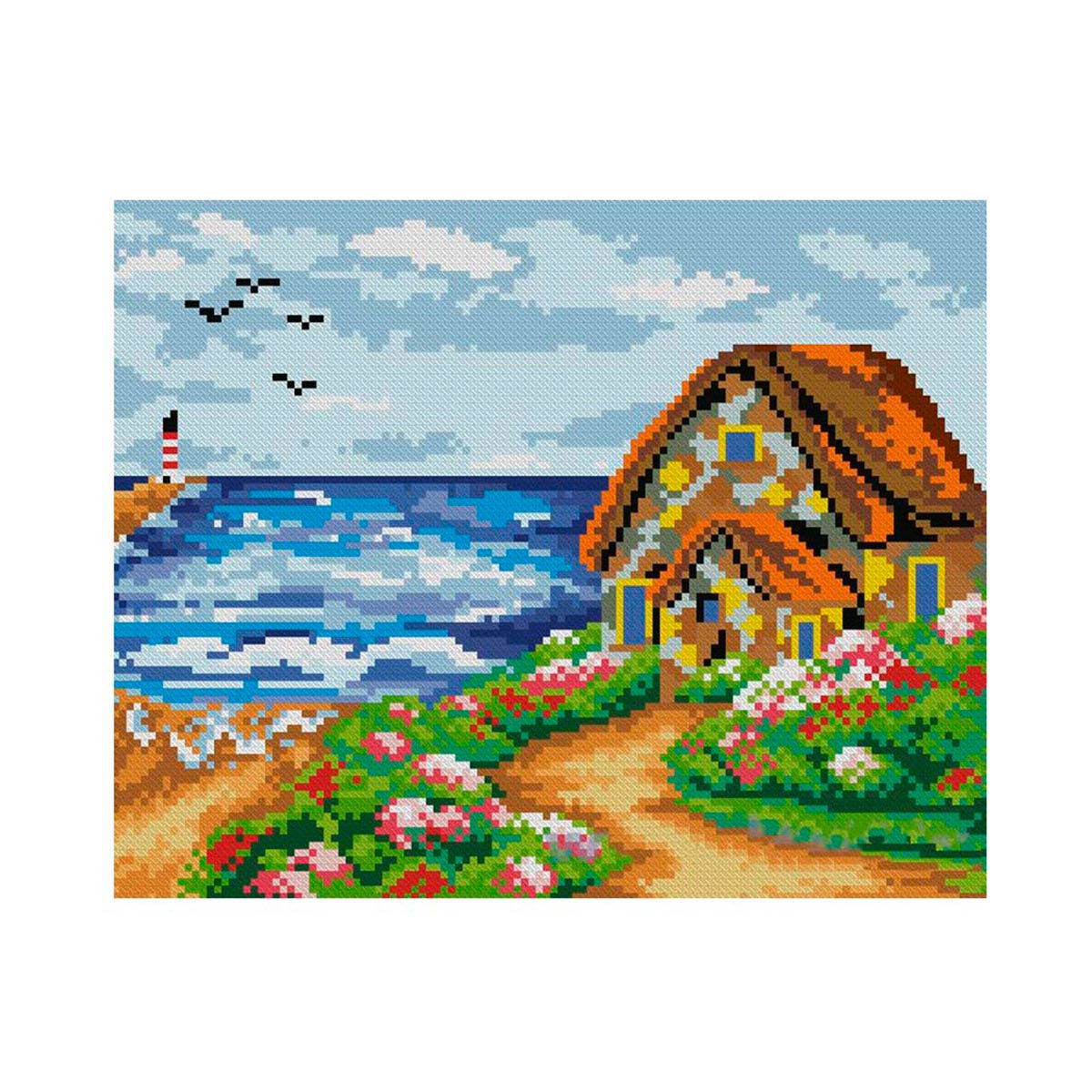 7505 Мозаика Cristal 'Домик на берегу', 35*30 см