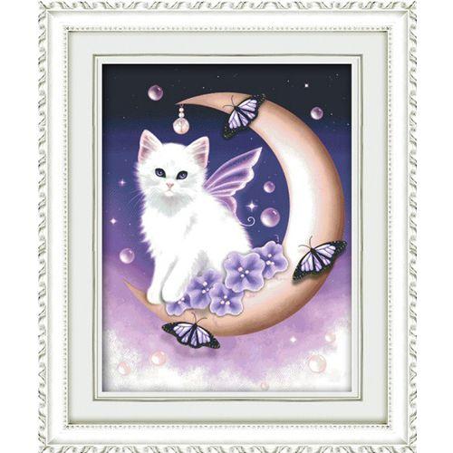 1336 Мозаика Cristal 'Белый кот', 40*50 см
