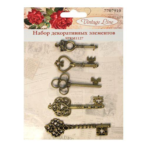 9PRM1127 Набор декоративных элементов 'Ключи', 5шт. Vintage Line