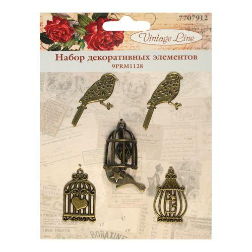 9PRM1128 Набор декоративных элементов 'Клетки и птицы', 5шт. Vintage Line