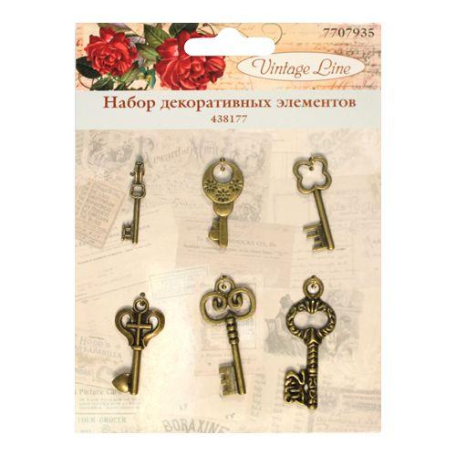 438177 Набор декоративных элементов 'Ключи', 6шт. Vintage Line