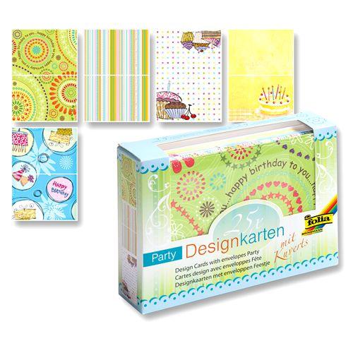 11301 Набор дизайнерских открыток 'Вечеринка', 15,5х11 см, 5 дизайнов по 5 шт., 25 конвертов, Folia