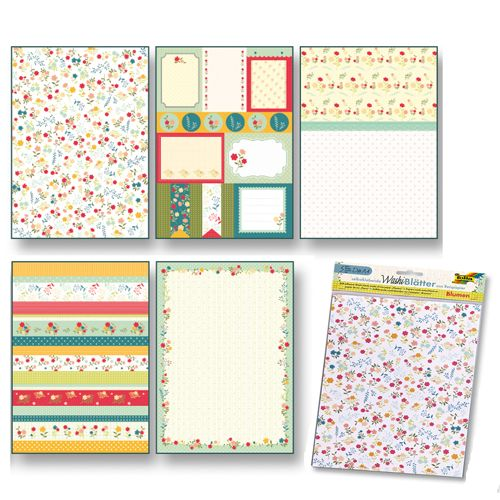 260405 Рисовая бумага 'Цветы' А4, самоклеящаяся, упак./5 листов, Folia