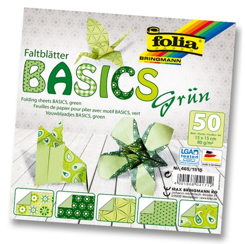 Бумага для оригами 80г/м?, узоры на зелен. фоне, 15х15см, 50 л. (465/1515) Folia