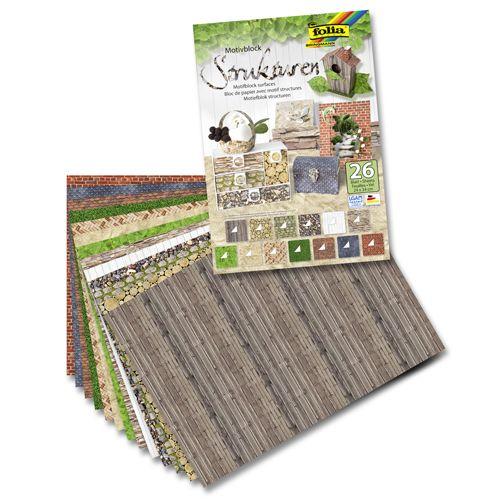 48149 Набор дизайнерского картона и бумаги 'Природные текстуры', 270 г/м² и 80 г/м², 24*34 см, упак./26 листов, Folia