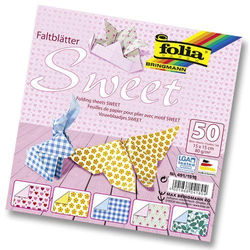 Бумага для оригами 'Sweet', 80г/м?, 15х15см, 50 л. (491/1515) Folia