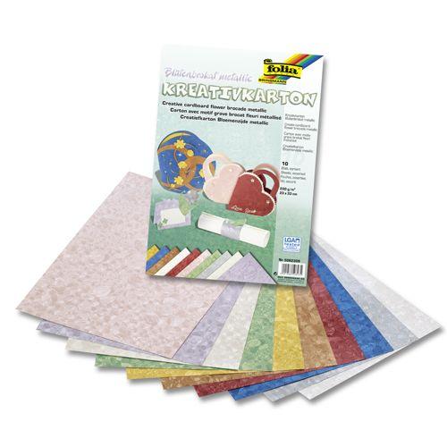 5062309 Картон текстурированный 'Парча с цветами', 230 г/м?, 23*33 см, упак./10 листов, Folia