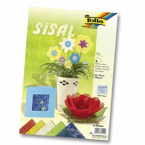 850409 Сизаль в листах, 135 г/м², 23*33 см, 5 цветов, упак./5 листов, Folia