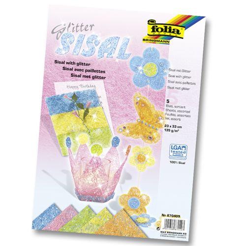Сизаль с глиттером, 135г/м², пастельные цвета, 23х33см, 5л. (870409) Folia