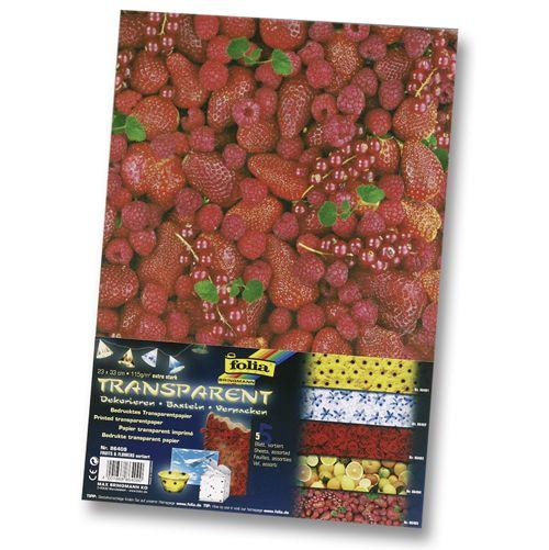 86409 Транспарентная бумага 'Цветы и фрукты', 115 г/м², 23*33 см, упак./5 листов, Folia