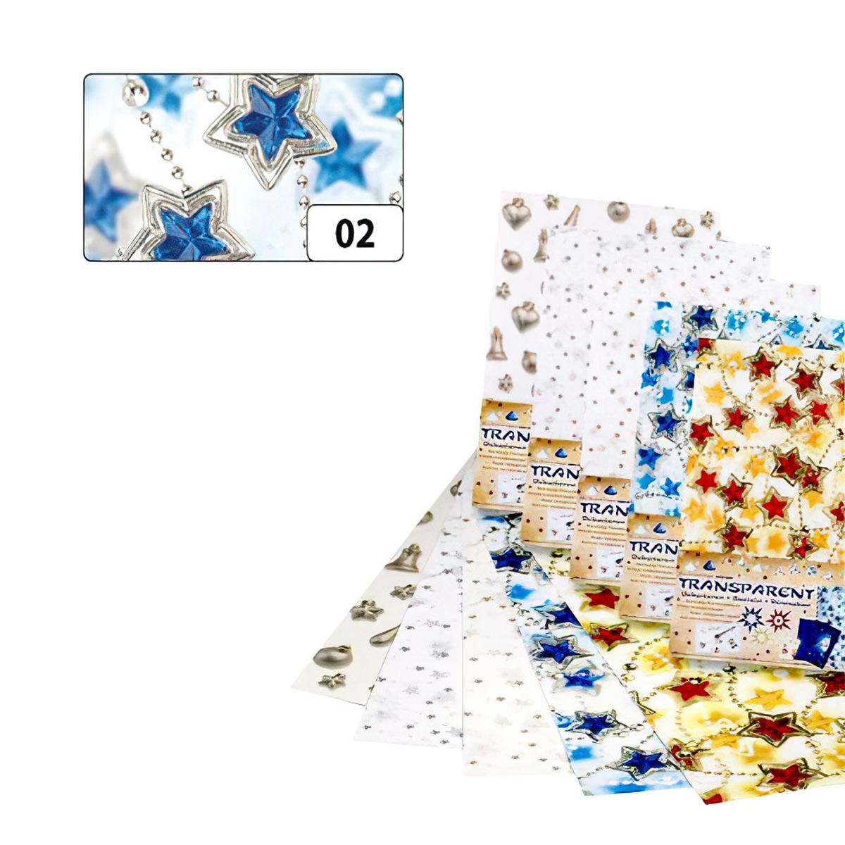 88102 Транспарентная бумага 'Цепочка из звезд', голуб./серебр., 115 г/м², 50,5*70 см, Folia