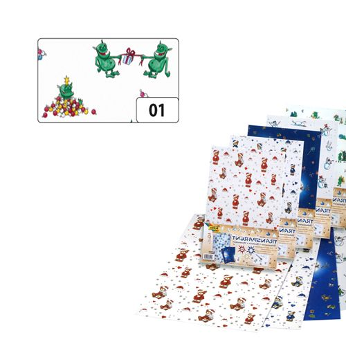 89101 Транспарентная бумага 'Рождественские тролли', 115 г/м², 50,5*70 см, Folia