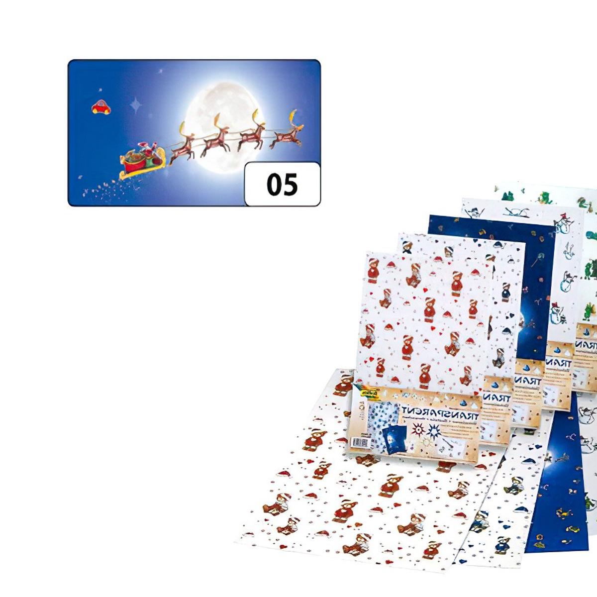 89105 Транспарентная бумага 'Олени в упряжке', голуб./серебр., 115 г/м², 50,5*70 см, Folia