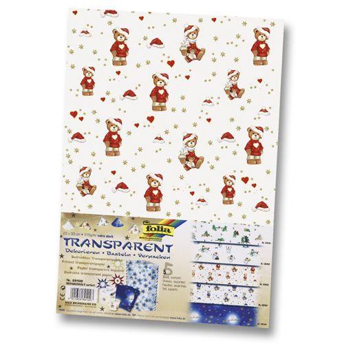 89409 Транспарентная бумага 'Рождество', 115 г/м², 23*33 см, упак./5 листов, Folia