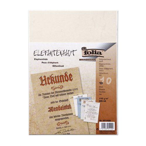 951400 Бумага с имитацией пергамента, белый, 110 г/м², А4, упак./10 листов, Folia