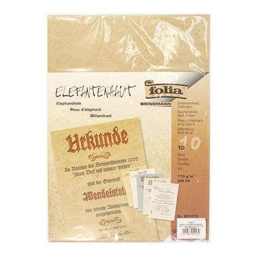 951475 Бумага с имитацией пергамента, светло-коричневый, 110 г/м², А4, упак./10 листов, Folia