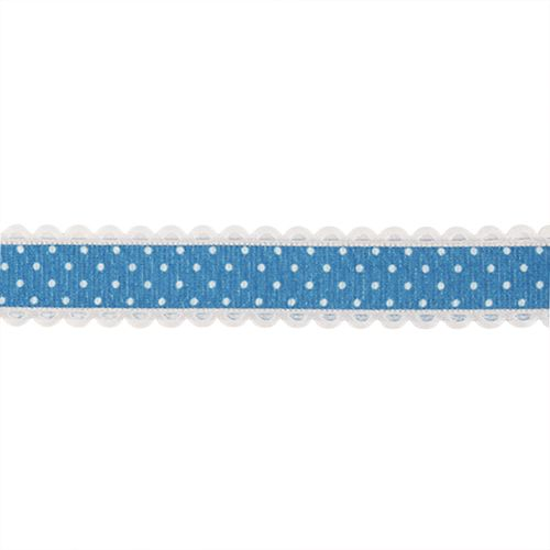 YH97 Лента декоративная 'Горох', 20 мм*25 м (07 синий/белый)