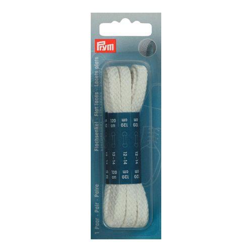 974733 Плоские шнурки, хлопок, белый, 0,8*120 см, упак./2 шт., Prym
