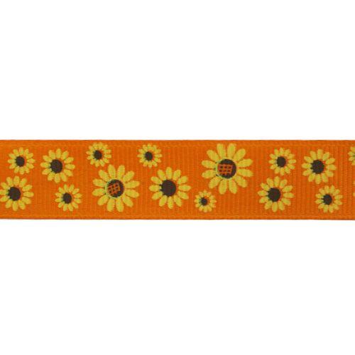 Лента репсовая 'Подсолнухи' 1,5см*22,86м (оранжевый) фото