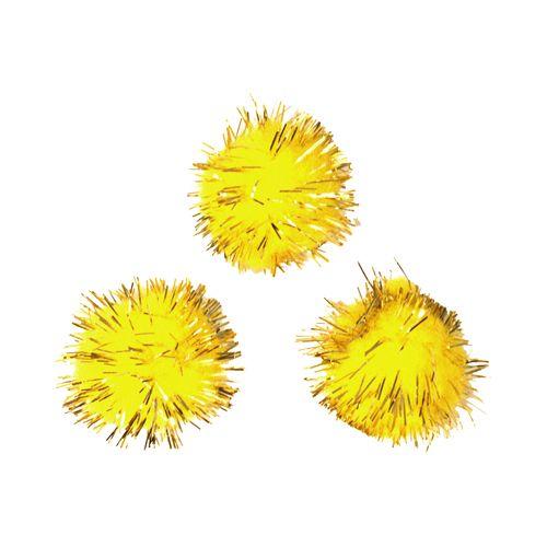 Помпоны с люрексом, 18 мм, упак./25 шт., 'Астра' (3 желтый) фото