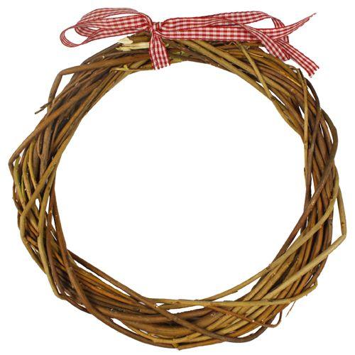 ZG14183A Венок декоративный плетеный с ленточкой, 35см, цв. коричневый