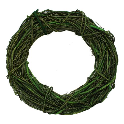ZG14009B Венок декоративный плетеный, 28 см, цв. зеленый