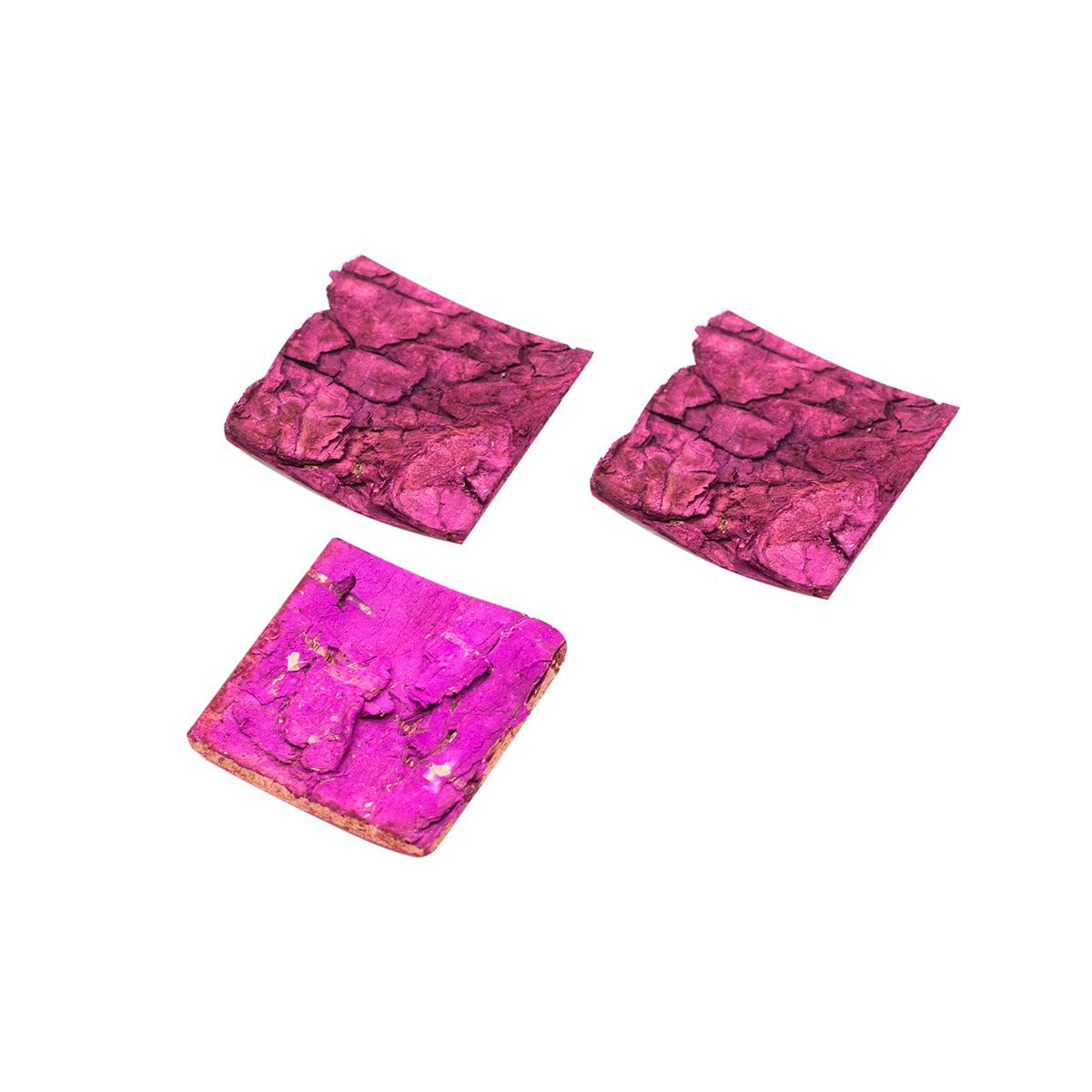 YW013 Декоративные элементы из коры дерева 'Квадратики', 3см, 30шт/уп (розовый) фото