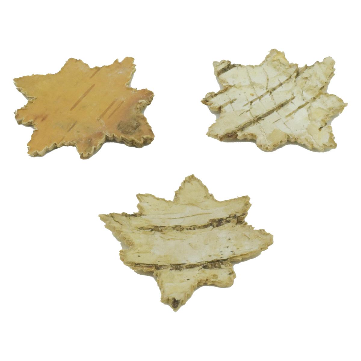 YW195 Декоративные элементы из коры дерева 'Восьмиконечная звезда' , 4см, 30шт/уп