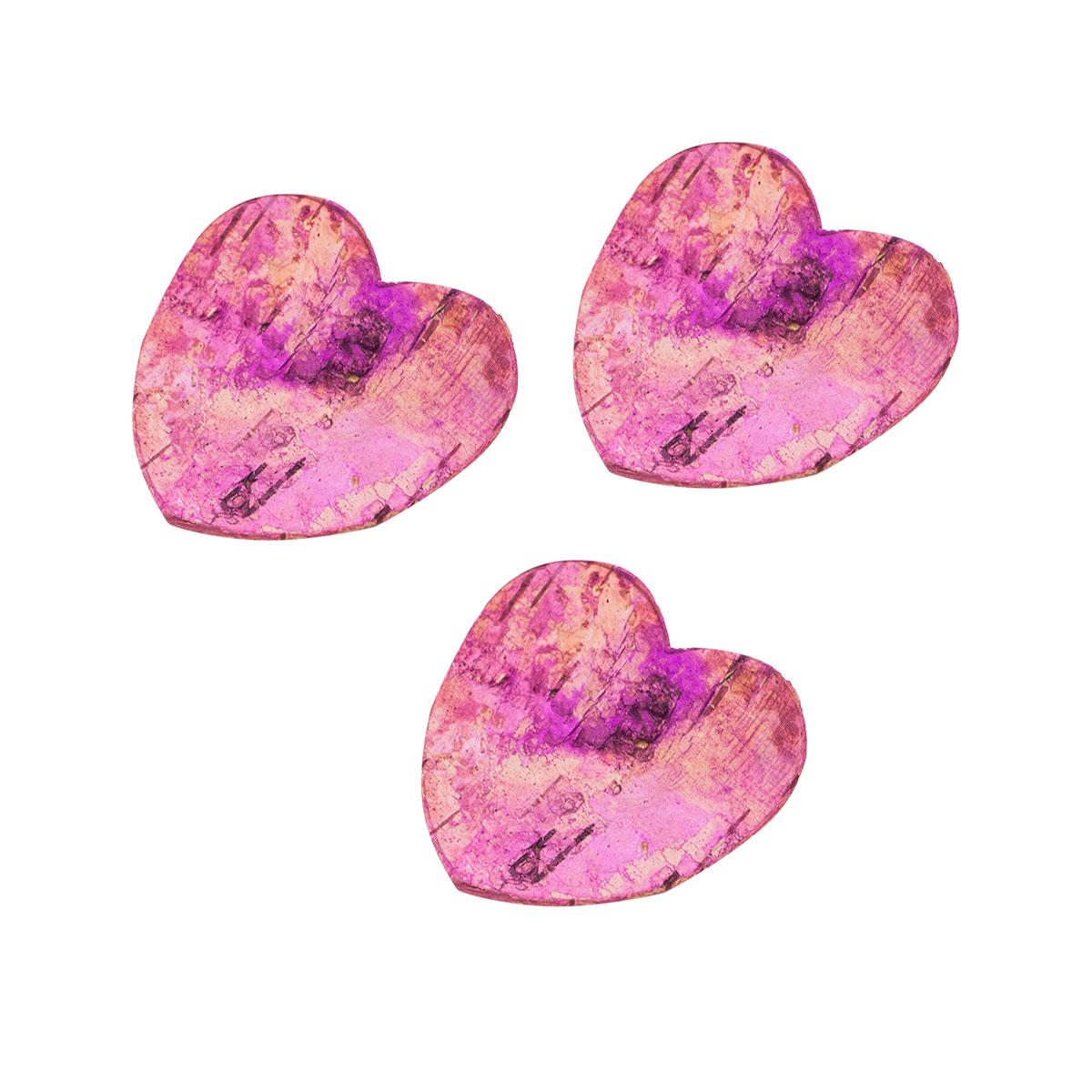 YW254 Декоративные элементы из коры дерева 'Сердце' , 5см, 10шт/уп (розовый) фото