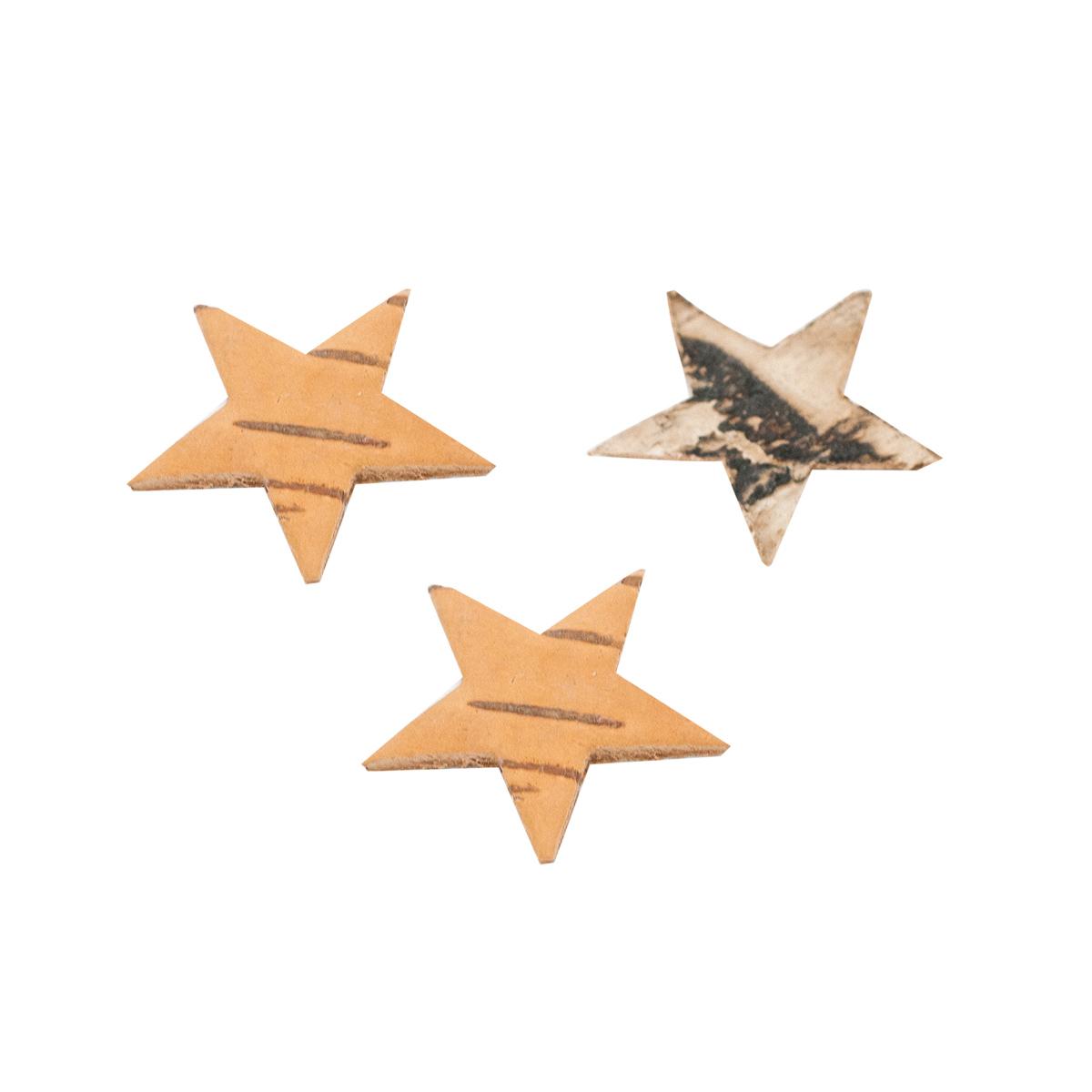 YW014 Декоративные элементы из коры дерева 'Звездочки', 4см, 30 шт/уп (отбеленный) фото