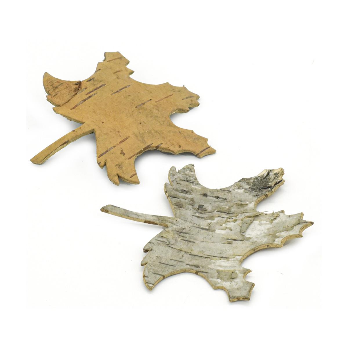 YW211 Декоративные элементы из коры дерева 'Кленовый лист', 8,5*10см, 6шт/уп