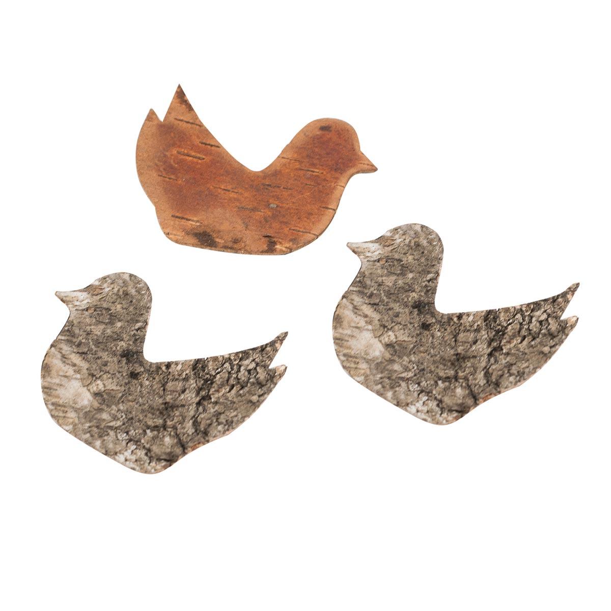 YW030 Декоративные элементы из коры дерева 'Птичка', 7*5см, 6шт/уп