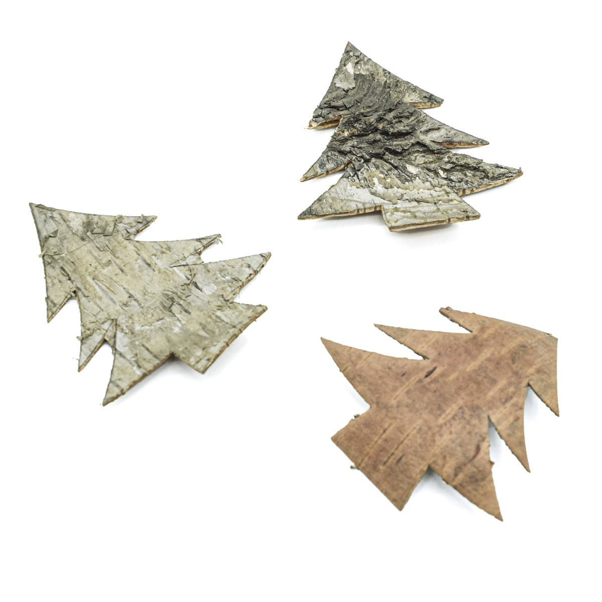YW021 Декоративные элементы из коры дерева 'Елочки', 10см, 3шт/уп