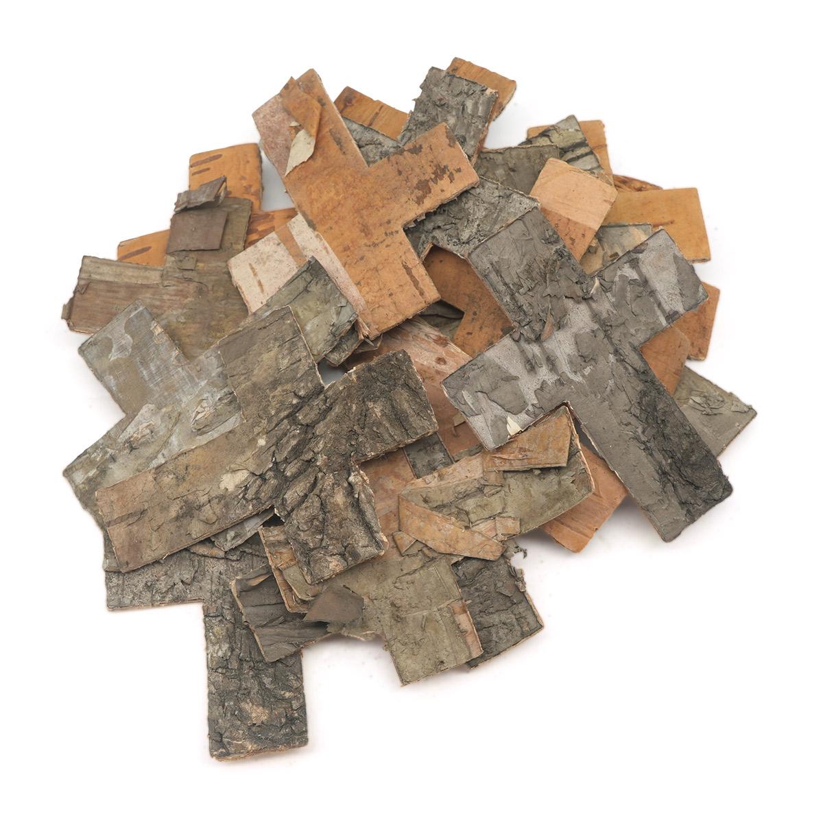 YW293 Декоративные элементы из коры дерева 'Крест', 6,5*5см , 25шт/уп (нат/дерево) фото