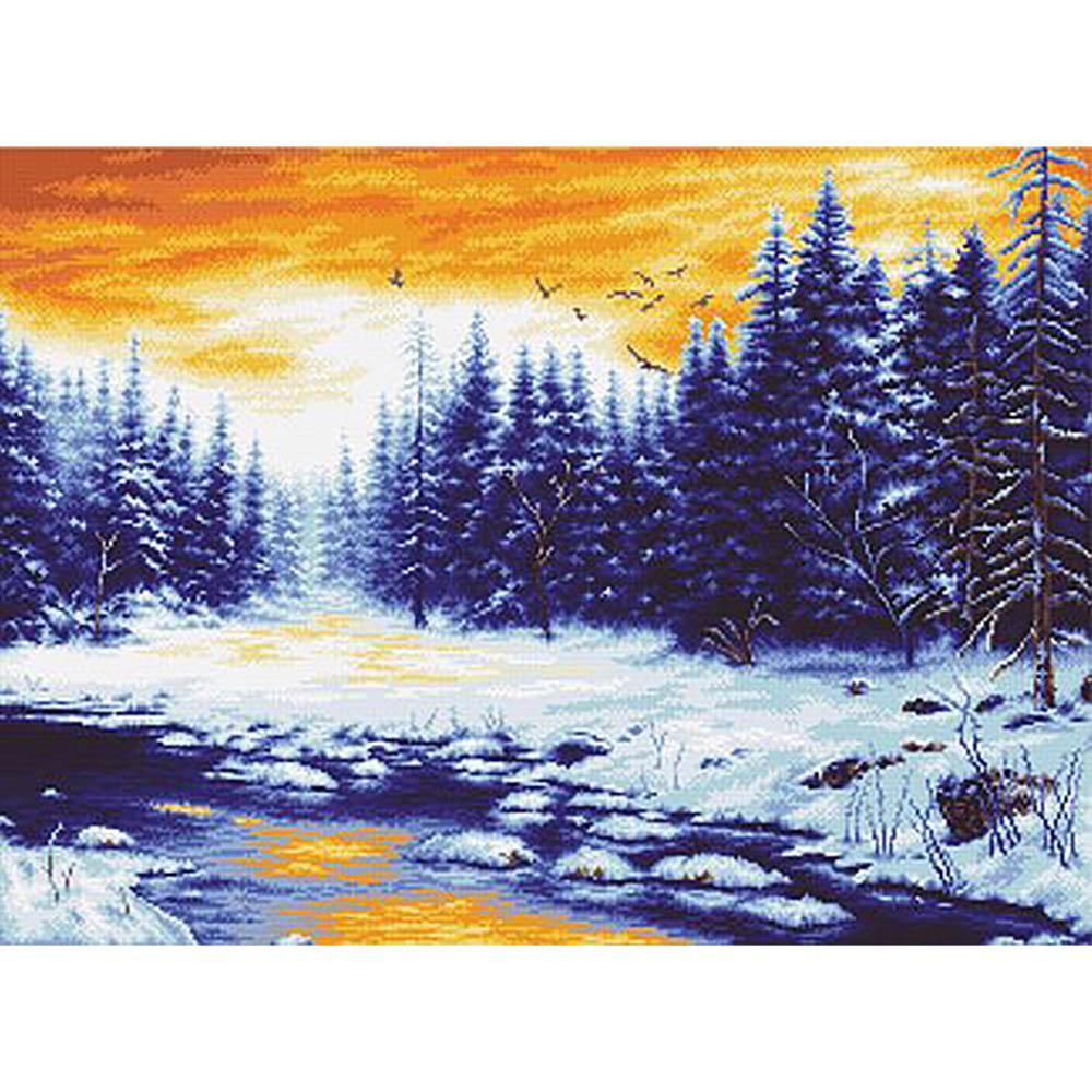 """Набор для вышивания крестом S-079 """"Зимняя река"""", 59x44 см, Hobby&Pro"""