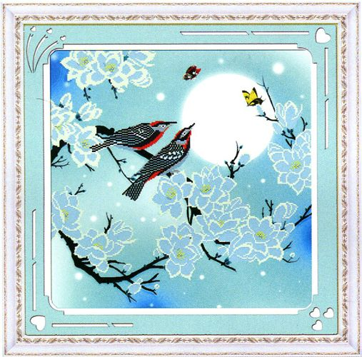 015 Картина со стразами 'Птицы на ветке', 76*76см