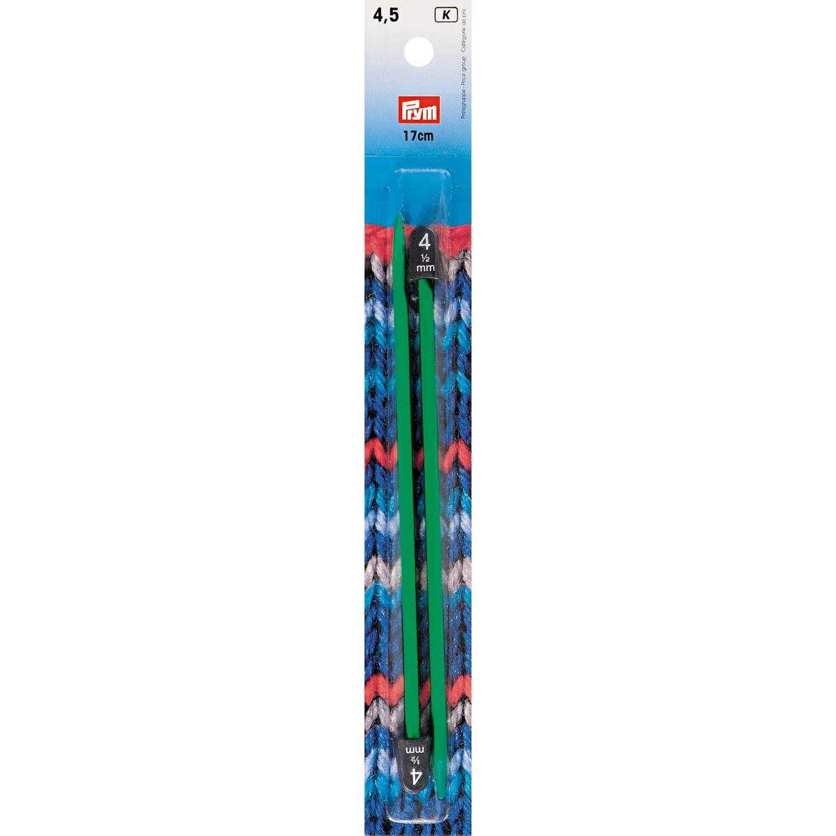 218403 Cпицы детские пластик 4,50 мм / 17 см зеленый 2шт. Prym
