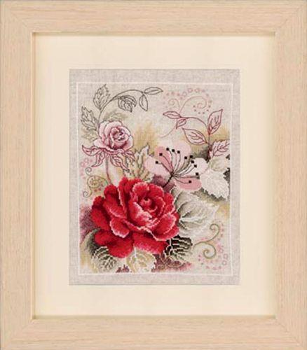 0145133-PN Набор для вышивания Vervaco 'Композиция с розой' 22x28см