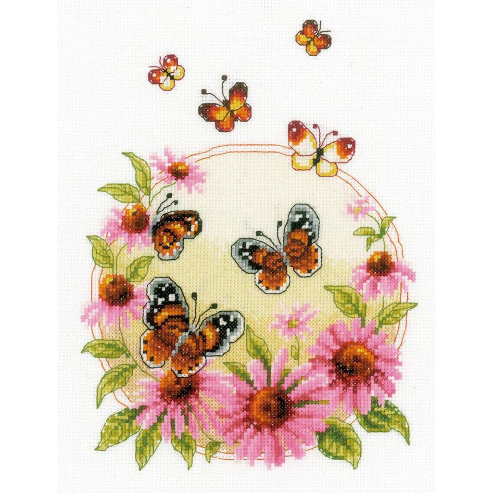 0021838-PN Набор для вышивания Vervaco 'Эхинацея и бабочки' 20x26см