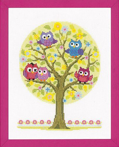0146618-PN Набор для вышивания Vervaco 'Совята на дереве' 23x30см