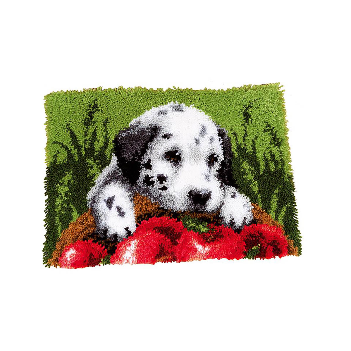 0147231-PN Коврик (ковровая техника) Vervaco 'Далматинец с яблоками' 40x40 см