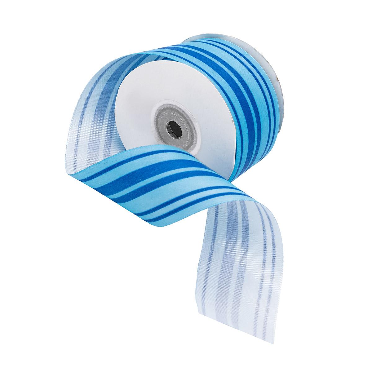 Лента атласная 'Горизонталь', 45мм*22,5м (синий)