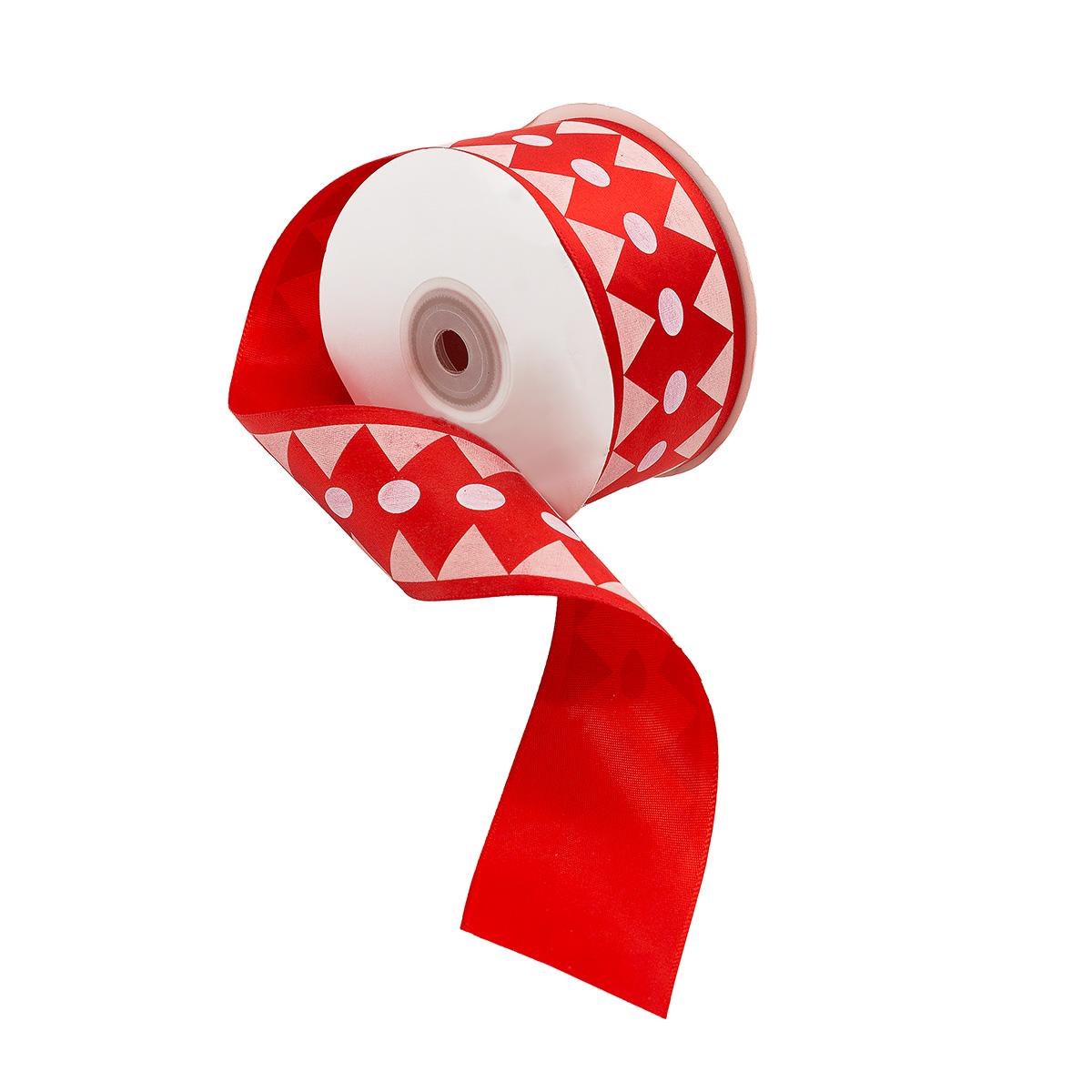 Лента атласная 'Ромбы', 45мм*22,5м (красный) фото