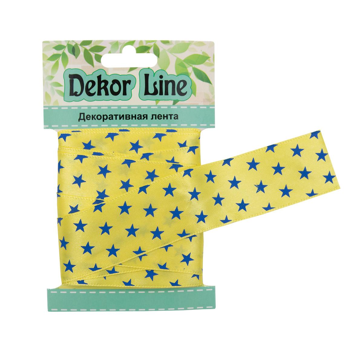 Лента атласная 'Звездочки', 25мм*3м (желтый)