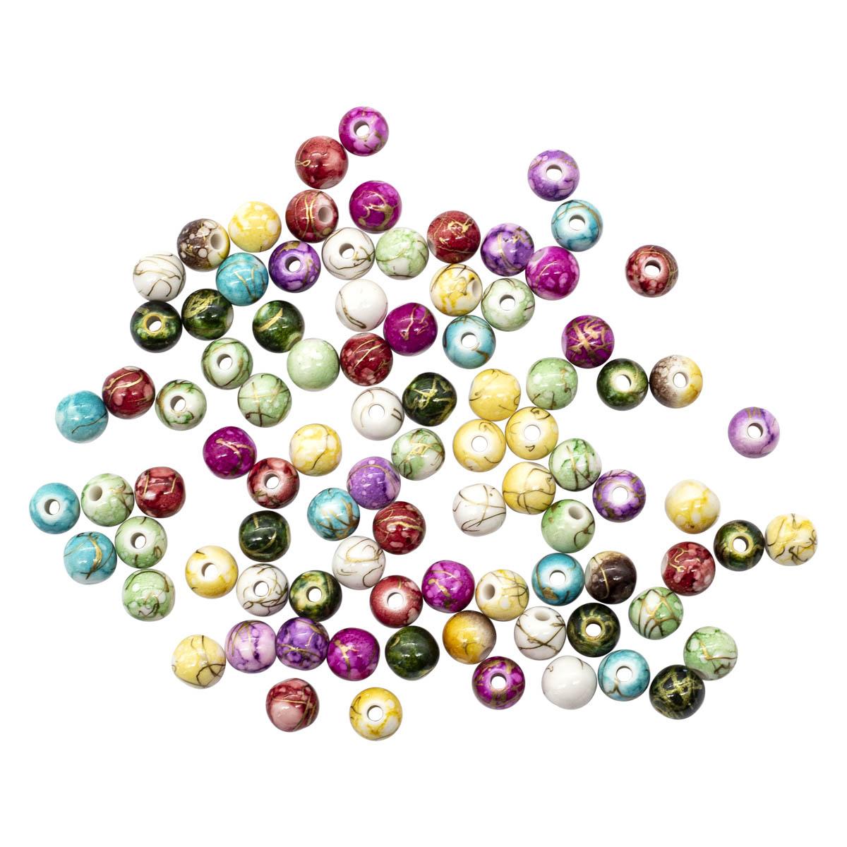 2008 Бусины пластиковые, разноцветные, d 7 мм, упак./90 шт., 'Астра'