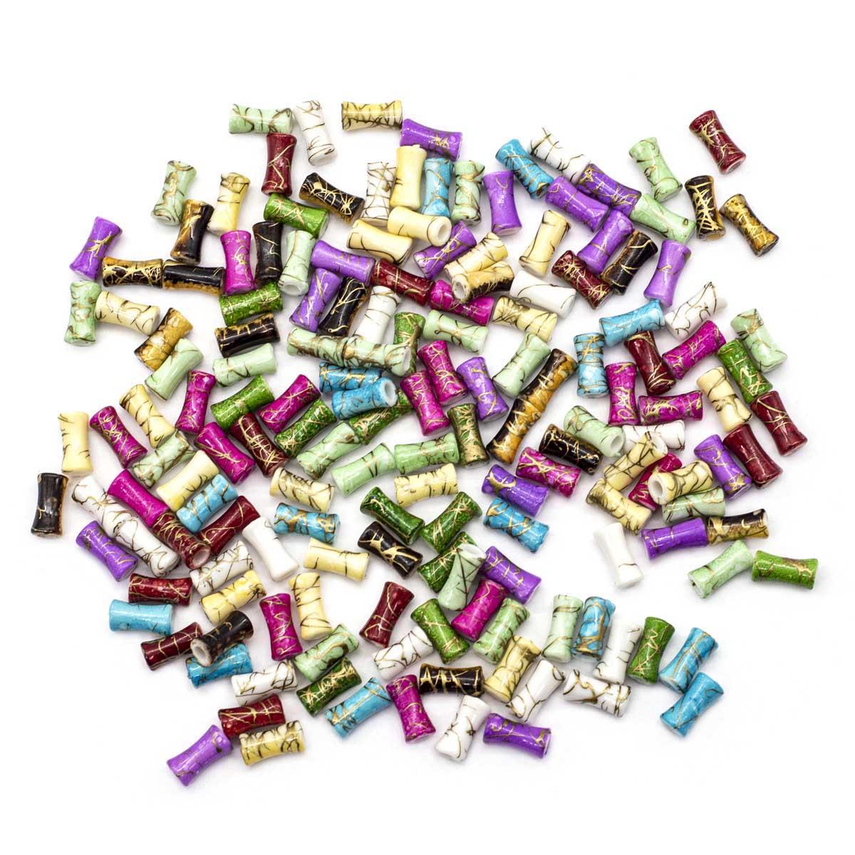 2493 Бусины пластиковые, разноцветные, 12*4 мм, упак./165 шт., 'Астра'