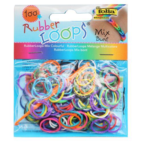 Резинки для браслетов 'Микс цветной' Rubber Loops (100 шт., 12 застежек, 1 крючок) (339109) Folia