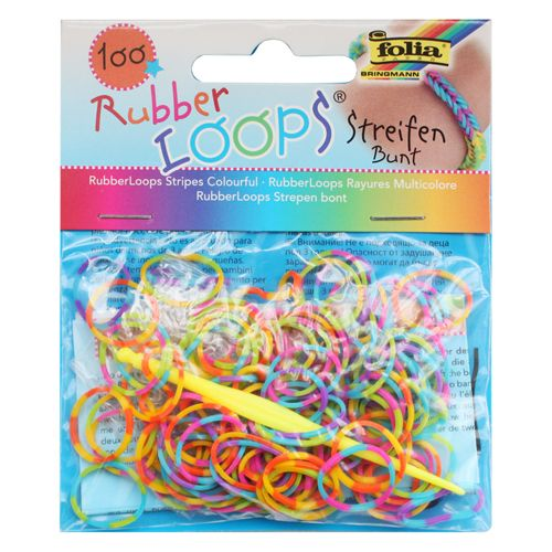 Резинки для браслетов 'Полоски' Rubber Loops (100 шт., 12 застежек, 1 крючок) (339177) Folia